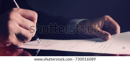 Attorney working in office web banner background. law attorney lawyer pen business man notary public concept
