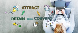 Attract Convert Retain text with man using a laptop