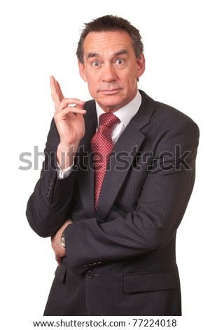 Attract Surprised Shocked Middle Age Business Man in Suit - stock photo