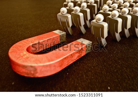 Attracting of customers, sales and online traffic, marketing business strategy concept, red lead magnet attracts figures of people on a black background, 3d illustration