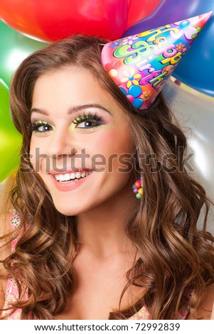 attractiv teenager celebrating her birthday