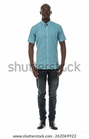 Attractive african american black man in checkered short sleeve collar shirt on isolated white studio background