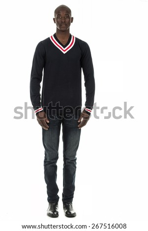 Attractive african american black man in long sleeve sweater jersey, on isolated white studio background