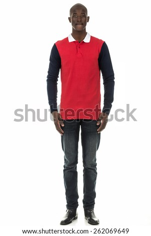 Attractive african american black man in plain long sleeve collar shirt on isolated white studio background