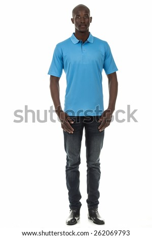 Attractive african american black man in plain short sleeve collar shirt on isolated white studio background