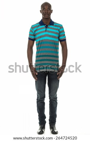 Attractive african american black man in stripped short sleeve collar shirt on isolated white studio background