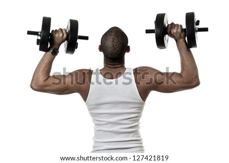 Attractive african american hispanic mix man exercising