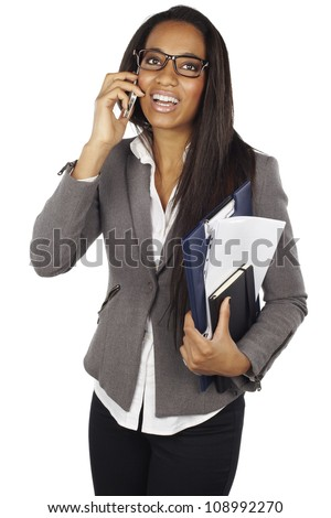 attractive african businesswoman with mobile phone isolated