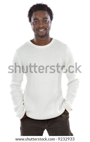 Attractive african man a over white background - stock photo