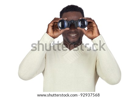 Attractive african man looking through binoculars isolated on a over white background