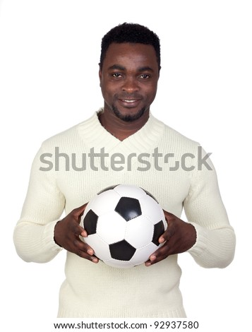 Attractive african man with a soccer ball isolated on a over white background - stock photo