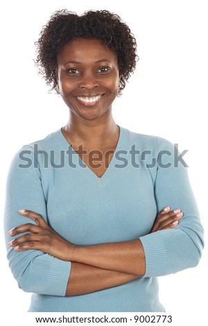 Attractive African woman a over white background
