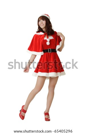 Attractive and sexy young Asian Christmas girl posing isolated over white.