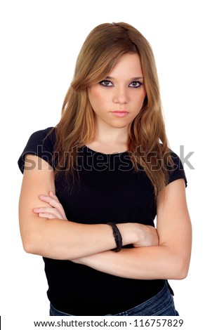 Attractive angry woman with black shirt isolated on white background