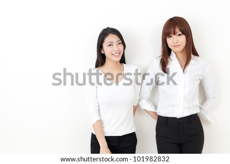 attractive asian business women on white background
