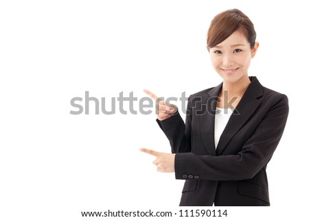 attractive asian businesswoman showing on white background