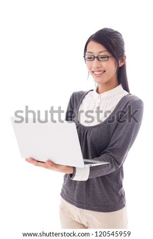 attractive asian businesswoman working on white background