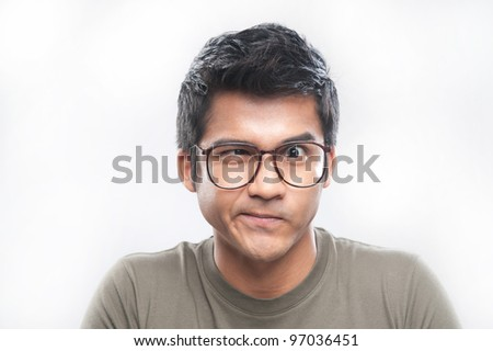 Attractive asian man portrait with expressions