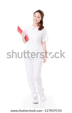 Attractive Asian nurse, woman portrait against white background.