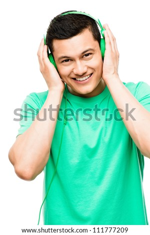 Attractive Asian student man smiling isolated on white background