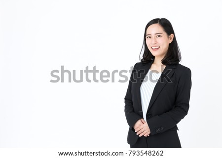attractive asian woman isolated on white background