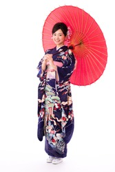 attractive asian woman wearing kimono isolated on white background