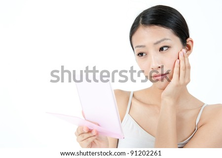 attractive asian woman with beautiful skin