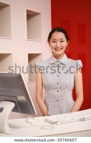 Attractive Asian young Career Woman - beautiful happy smiling with friendly and professional businesswoman on white and red wall background
