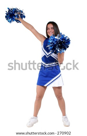Attractive athletic cheerleader in uniform with pompoms over white.
