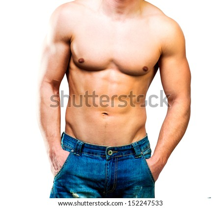 attractive athletic torso male on a white background