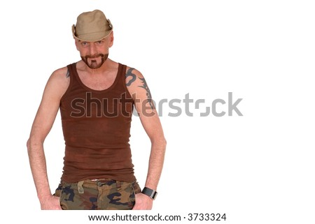 aged man with tattoo and hat,