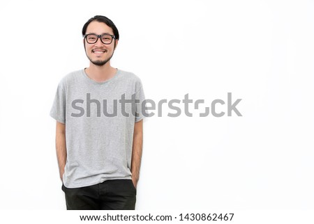 Attractive beautiful positive happy asian man. Close up portrait asian nerdy man. Handsome nerd Japanese guy wearing glasses with big smile isolated on white background.