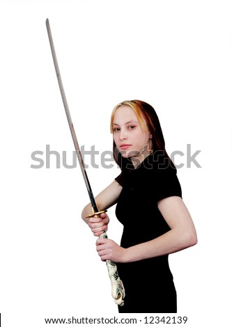 attractive beautiful young woman mma student with a sword drawn ready to fight in combat over white