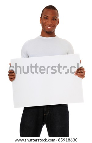 Attractive black holding blank white sign. All on white background.