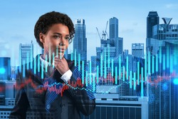 Attractive black woman trader and stock market analyst in suit dreaming about market behavior and forecast in crisis. Women in business concept. Forex chart. Singapore. Double exposure.