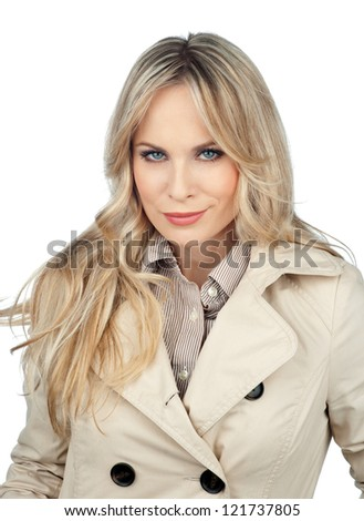 attractive blond woman making facial expression isolated