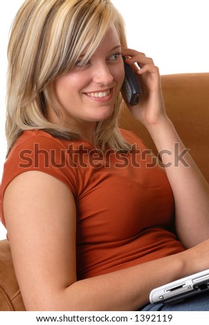 Attractive Blond Woman Talking On A Cell/Mobile Phone
