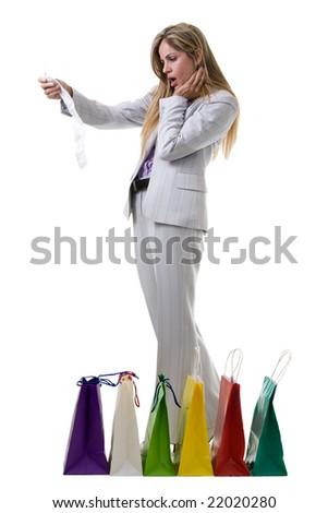 woman in pantsuit. blond woman wearing grey