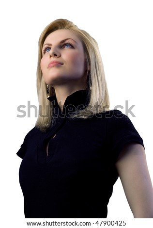 Attractive blonde isolated (outstanding business people in interiors / interfaces series)