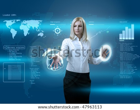 Attractive blonde navigating futuristic interface (outstanding business people in interiors / interfaces series)