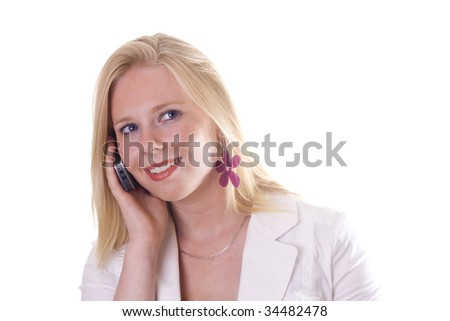Attractive blonde on cell phone