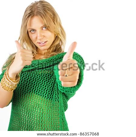 Attractive blonde showing thumbsup, isolated on white