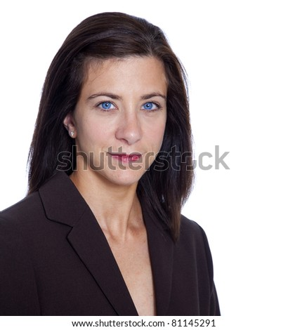 Attractive brunette businesswoman isolated on white background - stock photo