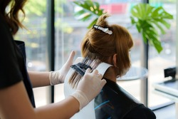 Attractive brunette hairdresser thoroughly dyeing hair of female client while she is sitting in chair in beauty salon