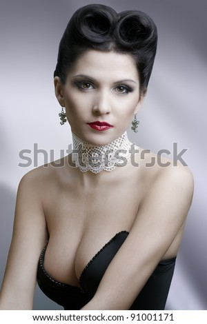 attractive brunette in oldfashion style