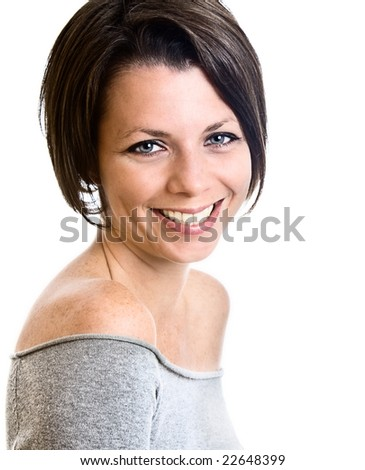 Attractive Brunette Lady Smiling
