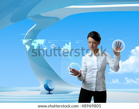 Attractive brunette on future background (outstanding business people in interiors / interfaces series)