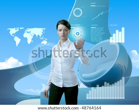 Attractive brunette with interface in future interior (outstanding business people in interiors / interfaces series) - stock photo