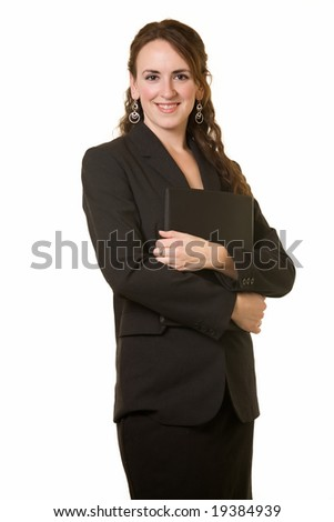 Attractive brunette woman wearing black business suit standing on white