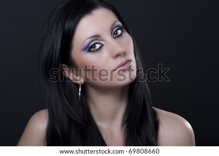 blue and purple makeup. lue and purple makeup. stock